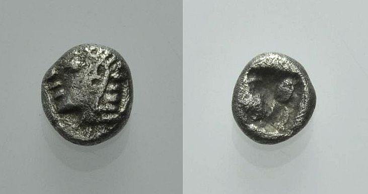 AR Hemiobol 550-500 v. Chr. GRIECHISCHE MÜNZEN IONIEN: UNBESTIMMTE MÜNZSTÄTTE Gutes sehr schön