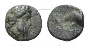 AE Kleinbronze 4. Jh. v. Chr. GRIECHISCHE MÜNZEN IONIEN: MYOUS Knapp sehr schön
