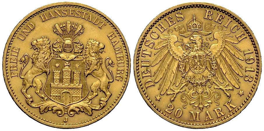 20 Mark 1913 HAMBURG Vorzüglich