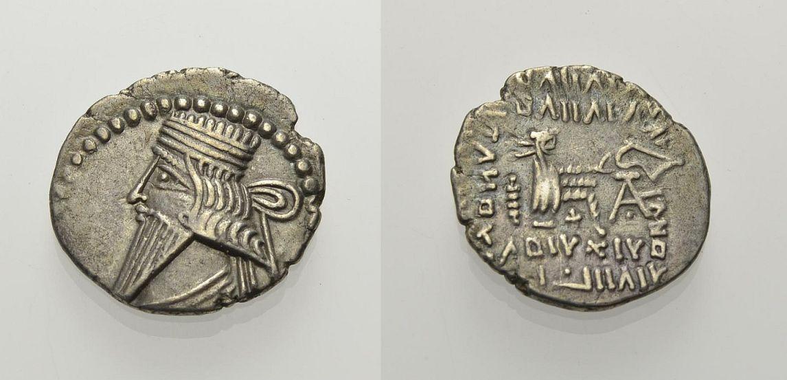 AR Drachme 105-147 KÖNIGE VON PARTHIEN VOLOGASES III. Sehr schön