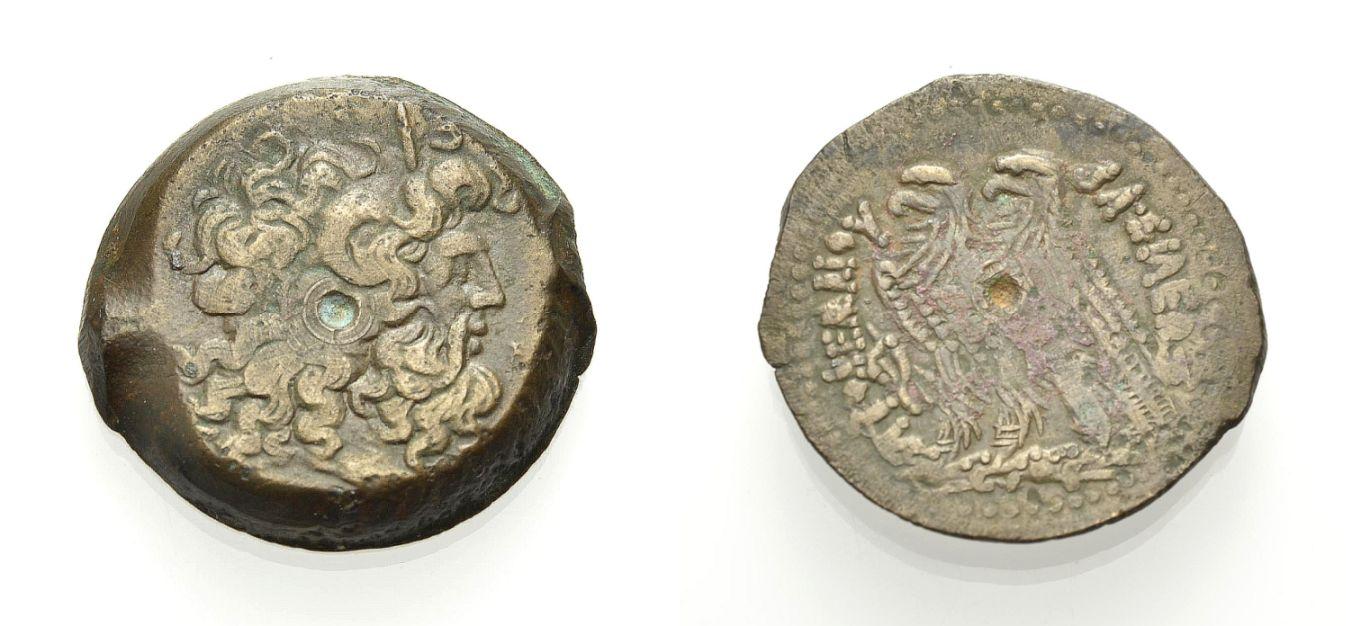 AE Grossbronze 180-145 v. Chr. ÄGYPTEN: KÖNIGREICH DER PTOLEMAIER PTOLEMAIOS VI. PHILOMETOR Sehr schön