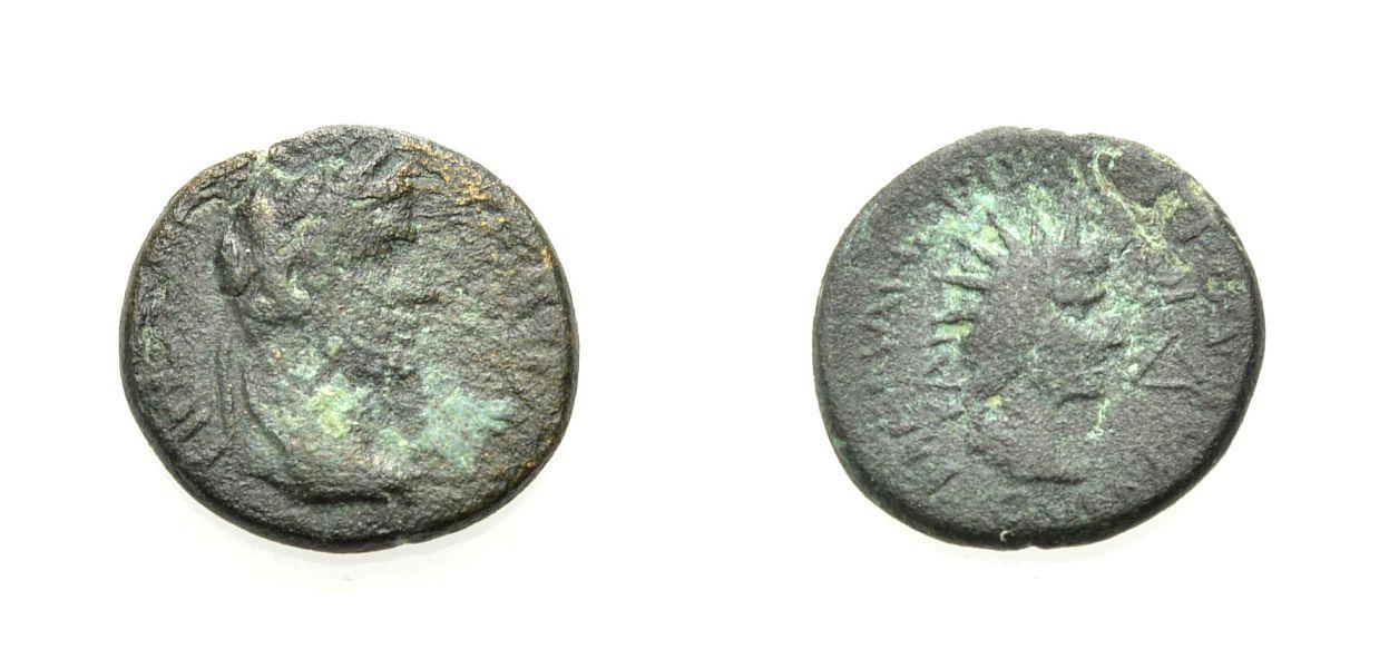 AE Bronze 14-37 GRIECHISCHE MÜNZEN UNTER ROM LYDIEN: TRIPOLIS, UNTER TIBERIUS Knapp sehr schön