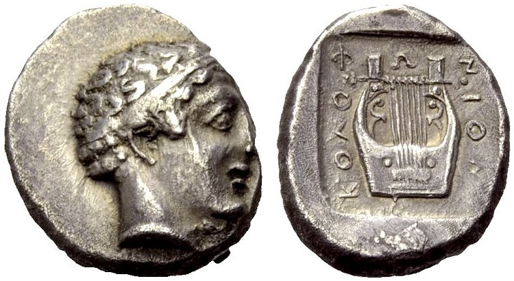 AR Drachme 450-440 v. Chr. GRIECHISCHE MÜNZEN IONIEN: KOLOPHON Gutes sehr schön