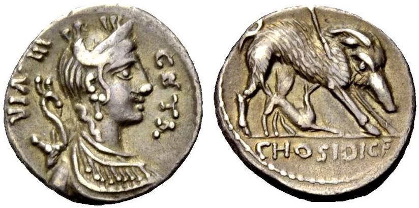 AR Denar 68 v. Chr. RÖMISCHE REPUBLIK C. HOSIDIUS GETA Gutes sehr schön