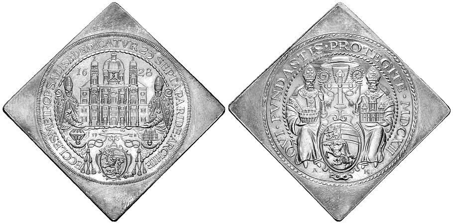 Silbermedaille 1928 SALZBURG 300 Jahre Domweihe Stempelglanz