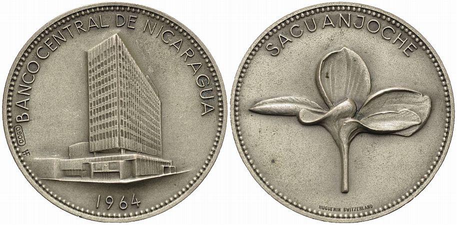 Silbermedaille 1964 NICARAGUA Zentralbank Vorzüglich