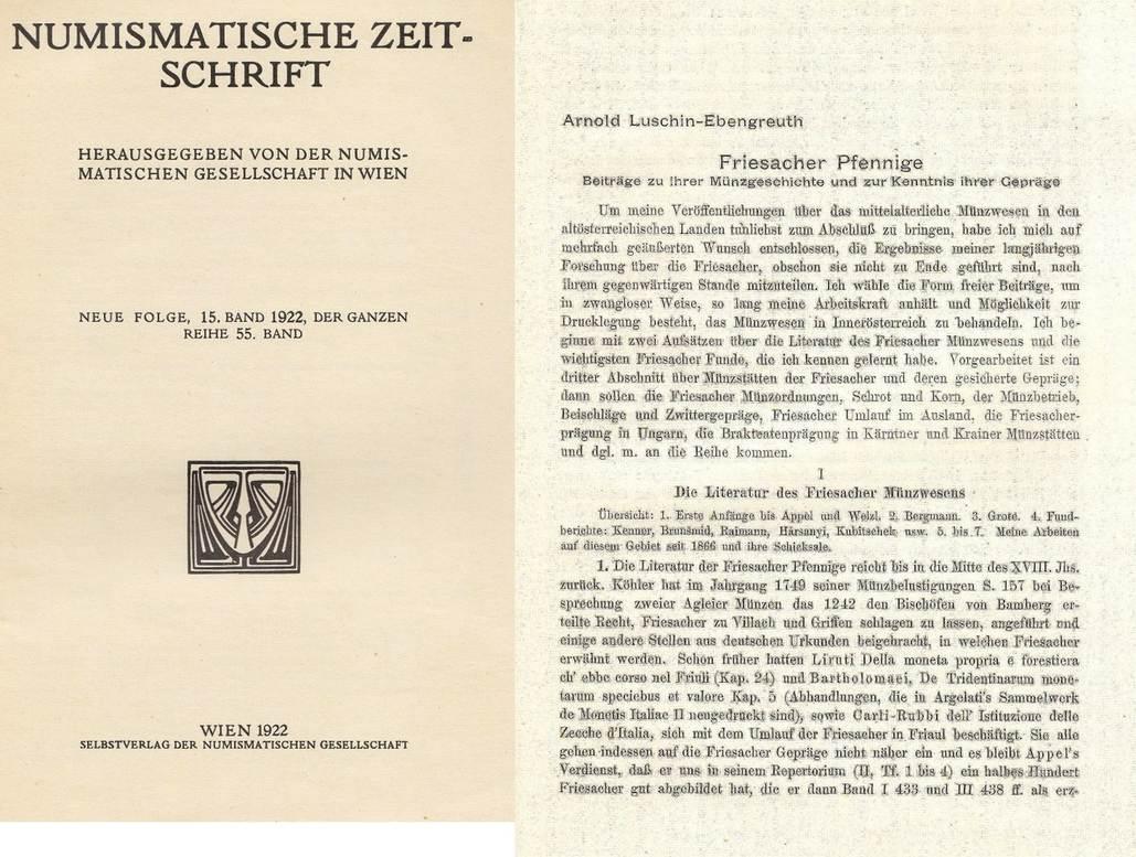 Aufsatz 1922-1923 LUSCHIN V. EBENGREUTH, A. FRIESACHER PFENNIGE III
