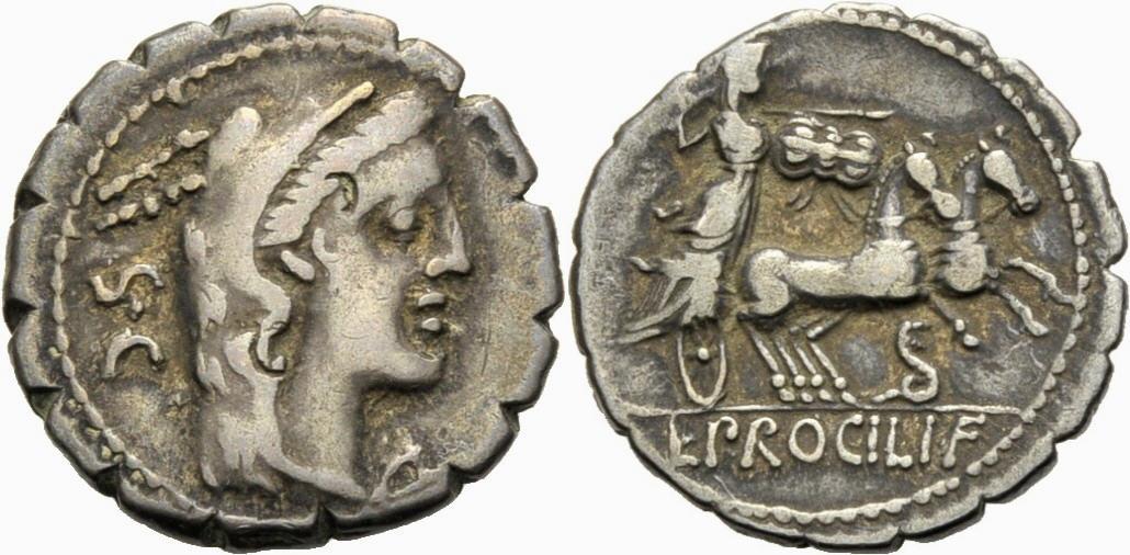 Denar 80 v. Chr. RÖMISCHE REPUBLIK, L. Procilius, 80 v. Chr. Sehr schön