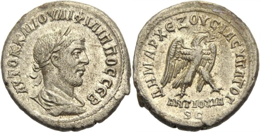 Billon Tetradrachmon. 244-249 ROM, PROVINZMÜNZEN SYRIEN: ANTIOCHIA AM ORONTES, UNTER PHILIPPUS I. ARABS. Vorzüglich