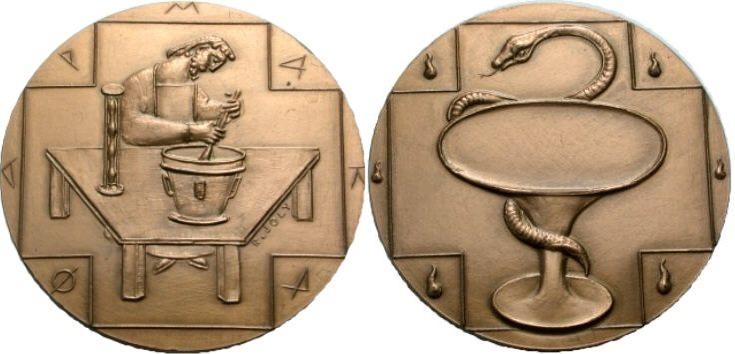 Bronzemedaille 1974 MEDIZIN Apotheker Prägefrisch