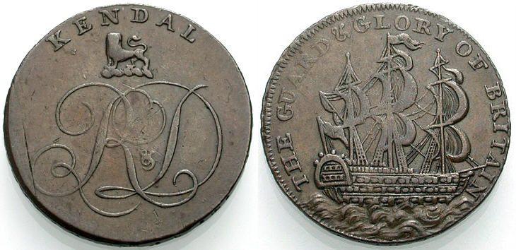 Halfpenny-Token um 1794 ENGLAND Kendal Sehr schön