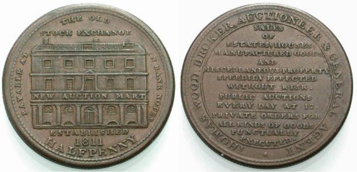 Halfpenny 1811 ENGLAND Auktionator Sehr schön
