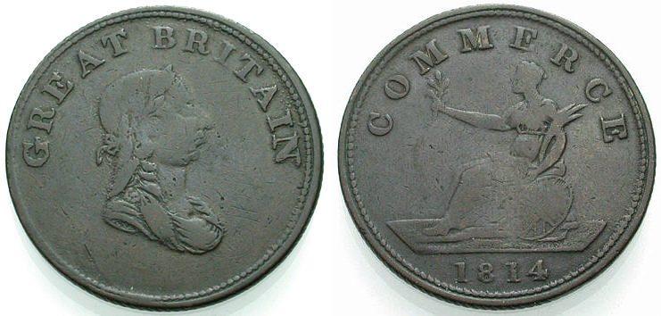 Halfpenny 1814 ENGLAND Token Schön