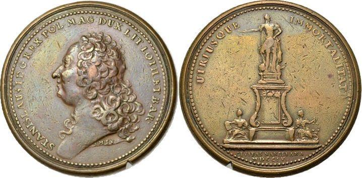 Bronzemedaille 1755 POLEN STANISLAS LESZCZYNSKI Schön