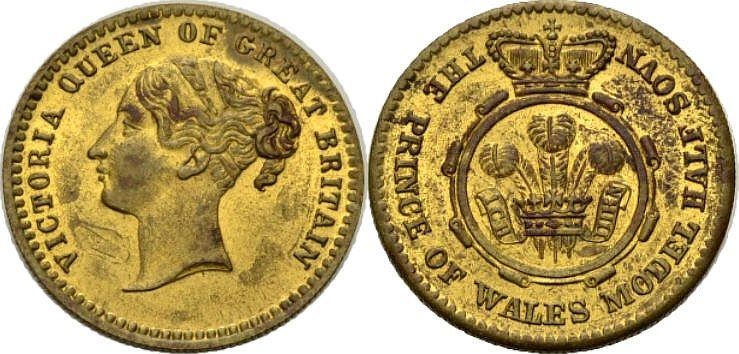 Messing Half Sovereign Modell ca. 1830-1901 GROßBRITANNIEN SPIELMARKE: VICTORIA Sehr schön/Vf.