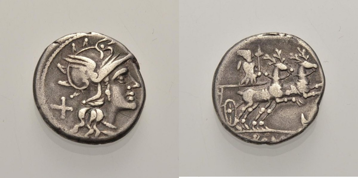 AR Denar 143 v. Chr. RÖMISCHE REPUBLIK ANONYM (AXIUS?): GÖTTIN DIANA IM HIRSCHBIGA Sehr schön