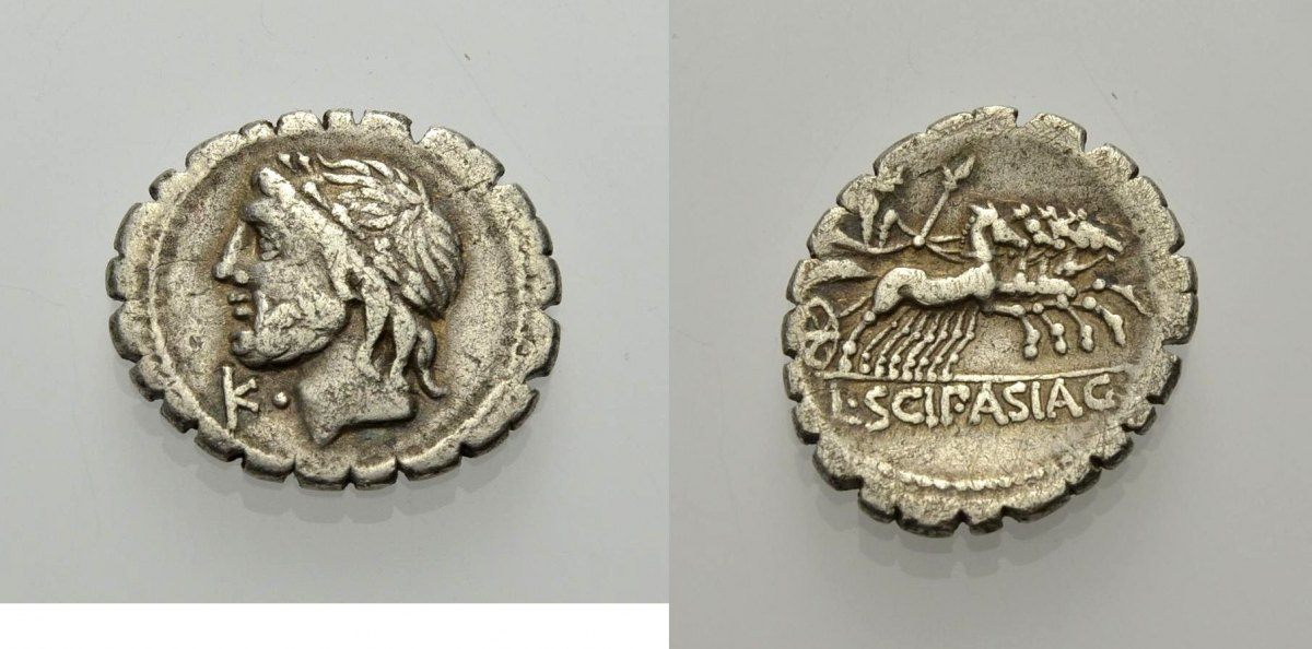 AR Denar, serratus 106 v. Chr. RÖMISCHE REPUBLIK L. SCIPIO ASIAGENUS Sehr schön