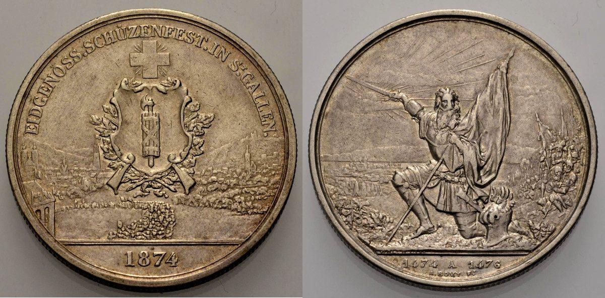 5 Franken 1874 SCHWEIZ Schützenfest St. Gallen Sehr schön