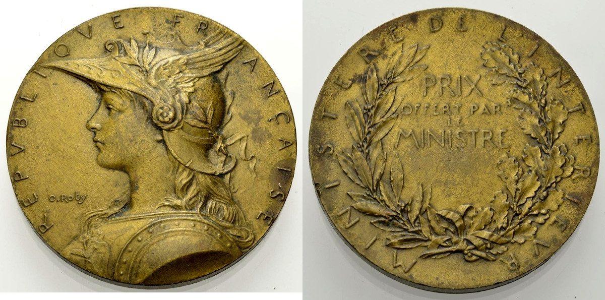 Bronzemedaille 1900 FRANKREICH Innenministerium Vorzüglich