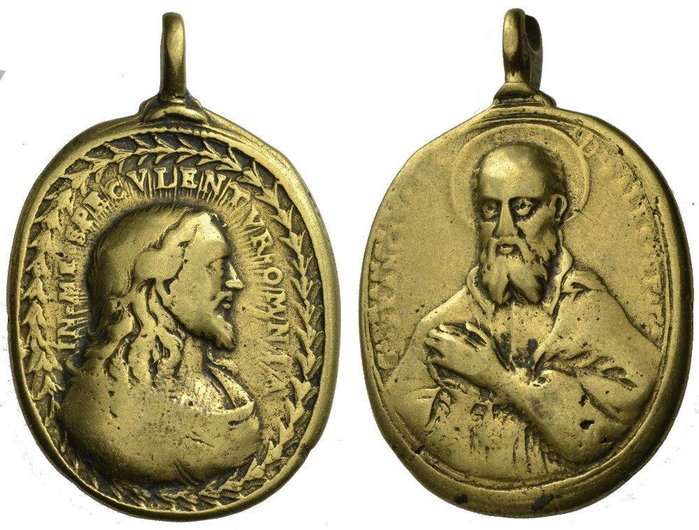 Bronzemedaille 18. Jh. Franz von Sales Religiöse Medaille Schön