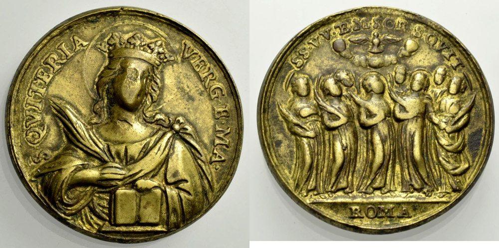 Bronzemedaille 18. Jh. Quiteria Religiöse Medaille Schön-sehr schön