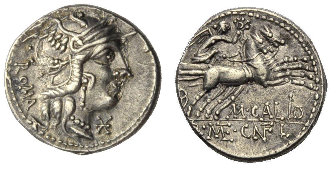 Denar 117 v. Chr. RÖMISCHE REPUBLIK, M. Calidius, Vorzüglich