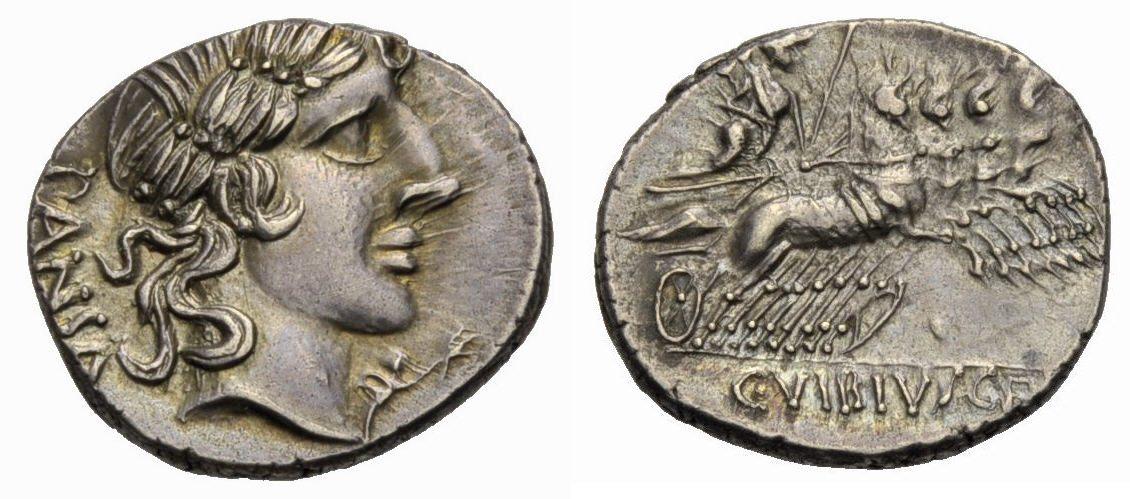 Denar 90 v. Chr. RÖMISCHE REPUBLIK, C. Vibius Pansa, Vorzüglich