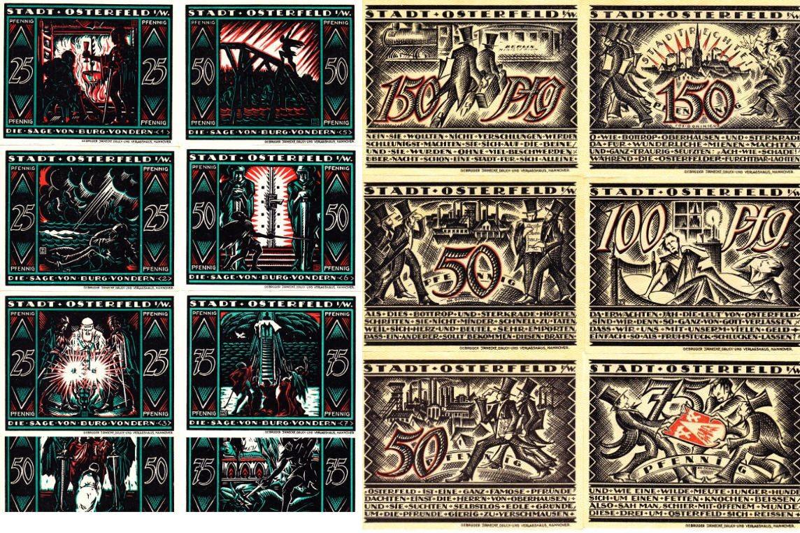Notgeldscheine 1921 DEUTSCHLAND OSTERFELD: BURG VONDERN UND EINGEMEINDUNGSSERIEN. I