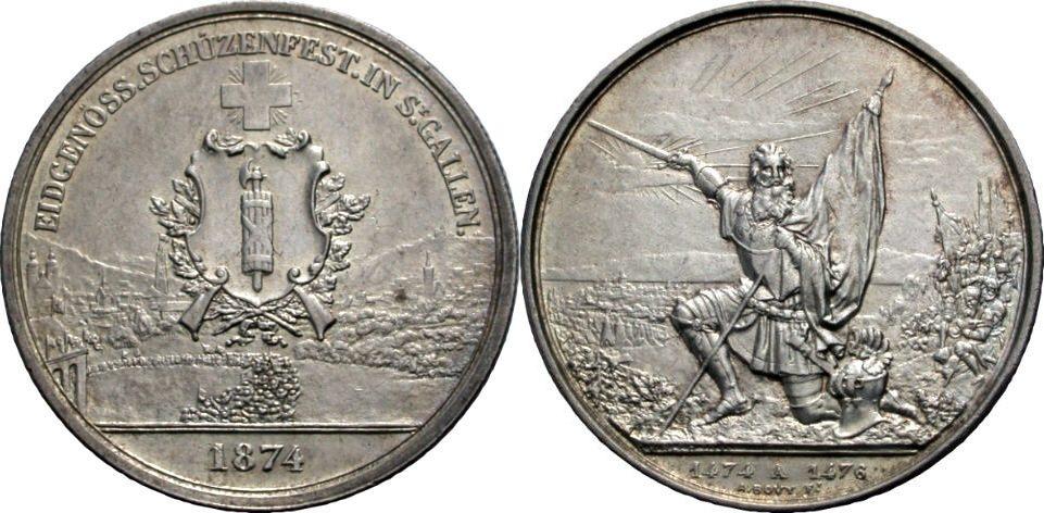 5 Franken 1874 SCHWEIZ Schützentaler Vorzüglich