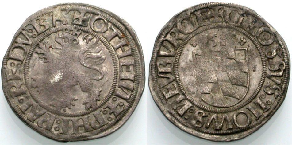 Halbbatzen 1514 PFALZ-NEUBURG OTTHEINRICH UND PHILIPP Sehr schön