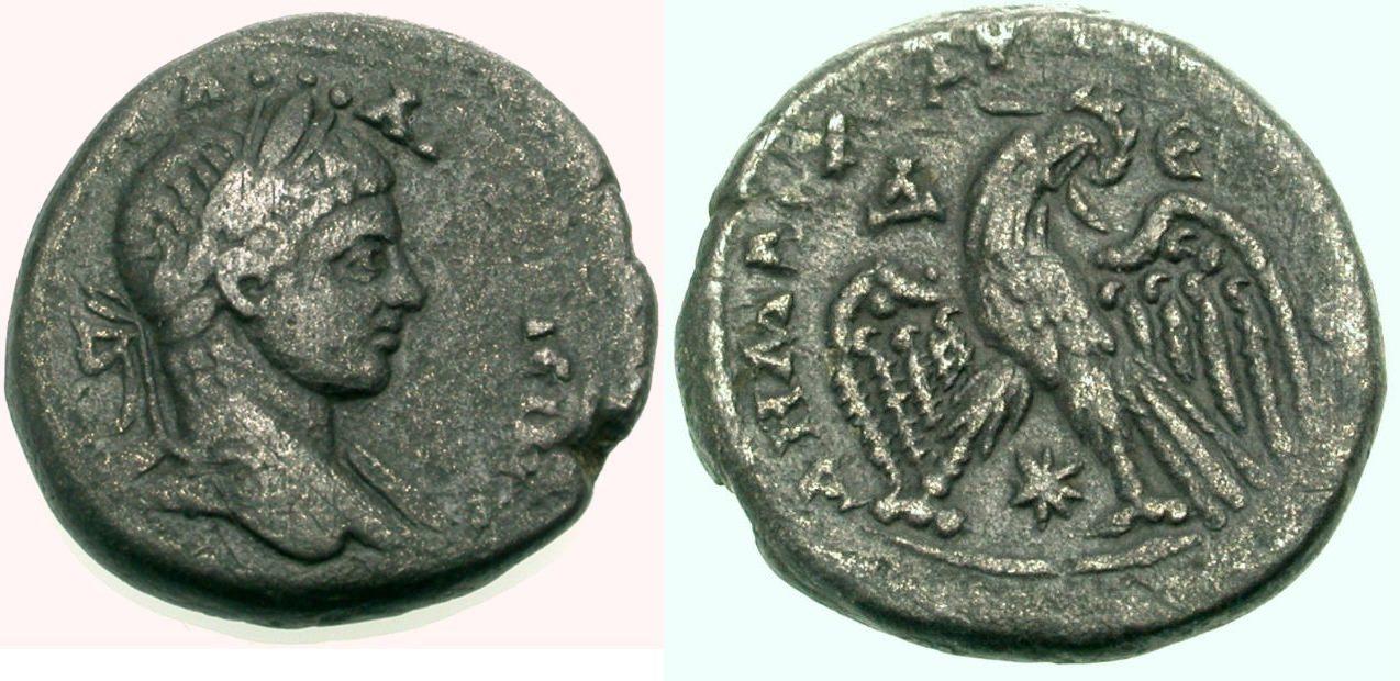 Billon Tetradrachmon 218-222 GRIECHISCHE MÜNZEN UNTER ROM ANTIOCHEIA: ELAGABAL Knapp sehr schön