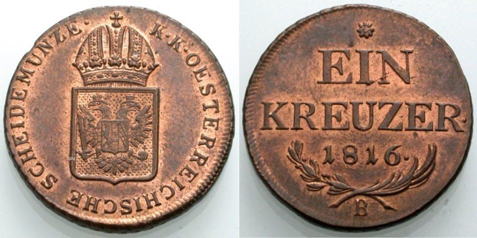Kreuzer 1816 ÖSTERREICH Kremnitz Vorzüglich-Stempelglanz