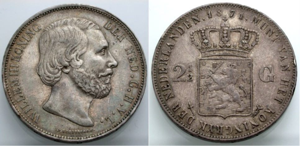 2 1/2 Gulden 1871 NIEDERLANDE Willem III. Sehr schön