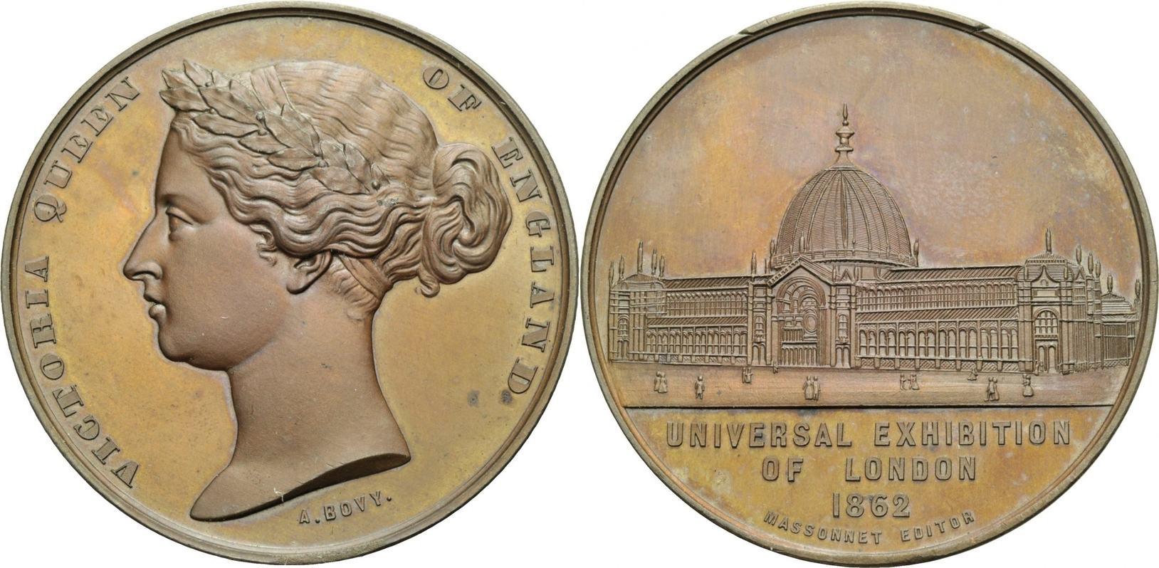 Bronzemedaille 1862 ENGLAND Weltausstellung Fast Stempelglanz