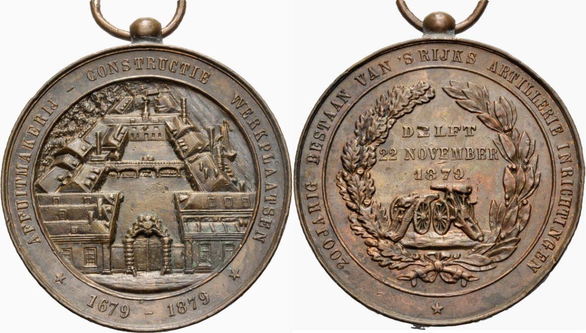 Bronzemedaille 1879 NIEDERLANDE Artilleriefabrik Sehr schön