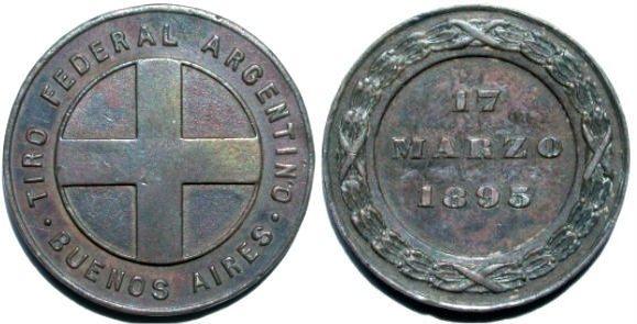 Bronzemedaille 1895 ARGENTINIEN. Schützenfest. Sehr schön-vorzüglich
