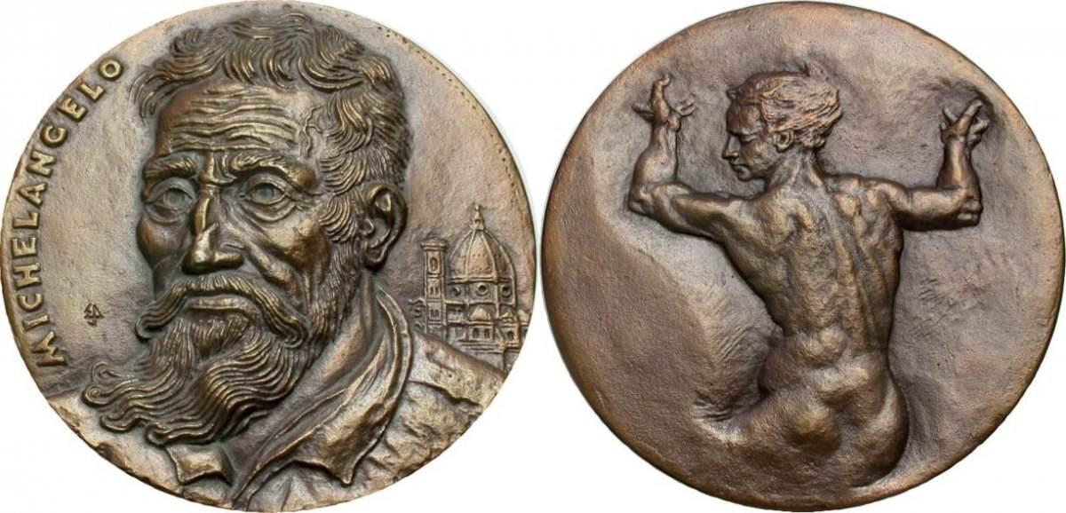 Bronzemedaille 1987 Michelangelo (von Ernst Schomer) Gussfrisch