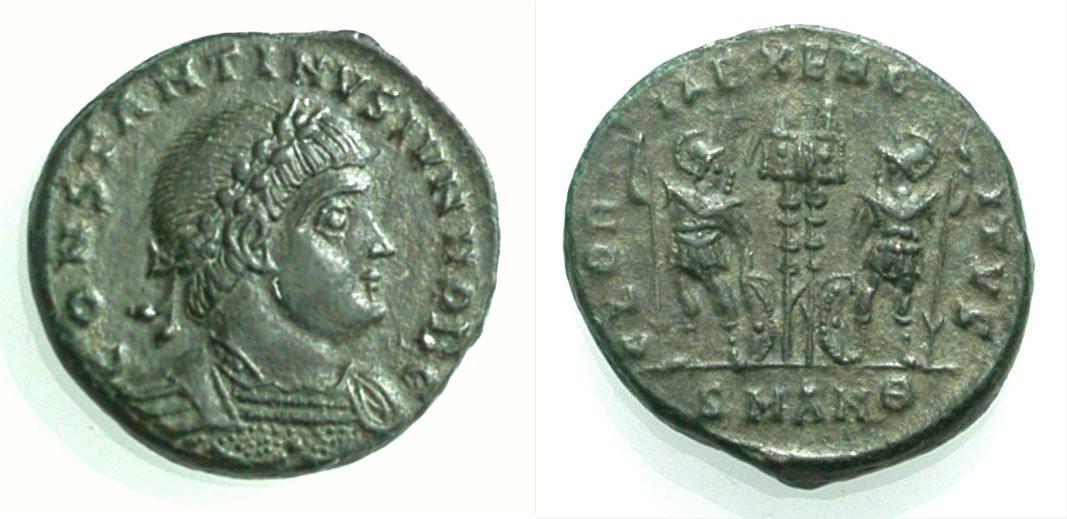 Nummus 317-337 ROM, KAISERZEIT CONSTANTINUS II. CAESAR Vorzüglich, Rv. Sehr schön