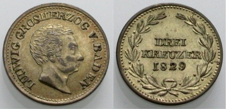 3 Kreuzer 1829 BADEN Vorzüglich