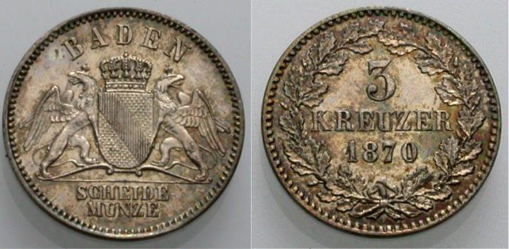3 Kreuzer 1870 BADEN Vorzüglich
