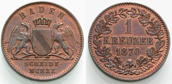 Kreuzer 1870 BADEN Vorzüglich