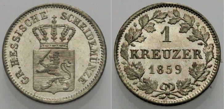 Kreuzer 1859 HESSEN-DARMSTADT Stempelglanz