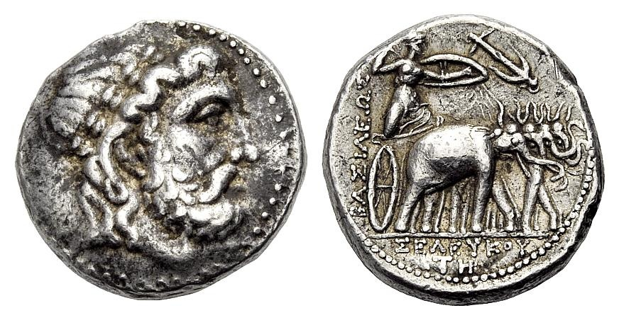 AR Tetradrachmon 295-281 v. Chr. KÖNIGREICH DER SELEUKIDEN SELEUKOS I. NIKATOR Sehr schön