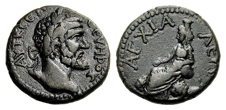 AE Bronze 193-211 GRIECHISCHE MÜNZEN UNTER ROM SEPTIMIUS SEVERUS: THRAKIEN, ANCHIALOS Sehr schön