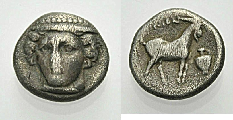 AR Tetrobol 412-365 v. Chr. GRIECHISCHE MÜNZEN THRAKIEN: AINOS Knapp sehr schön