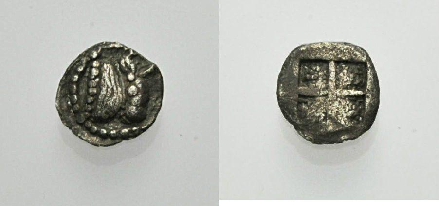 AR Hemiobol vor 480 v. Chr. GRIECHISCHE MÜNZEN MAKEDONIEN: AKANTHOS Sehr schön