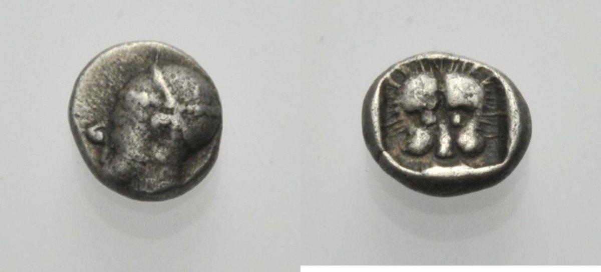 AR Obol 5. Jh. v. Chr. GRIECHISCHE MÜNZEN KARIEN: UNBESTIMMTE MÜNZSTÄTTE Sehr schön