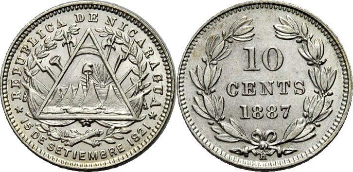 10 Centavos 1887 NICARAGUA Vorzüglich
