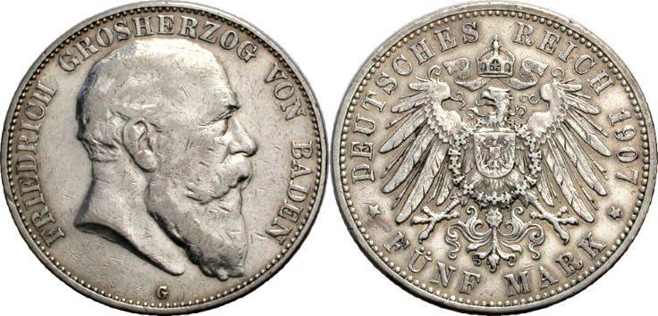5 Mark 1907 BADEN Sehr schön