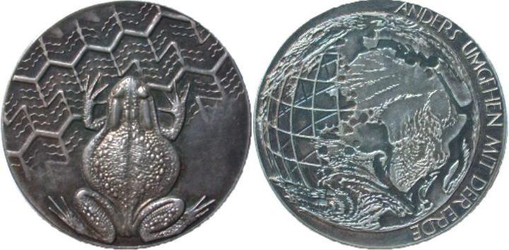 Silbermedaille 1989 UMWELTSCHUTZ von R. Heinsdorff Stempelglanz